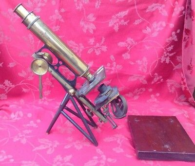 Antique Ladd London Chain Driven Microscope For Spares Or Repair