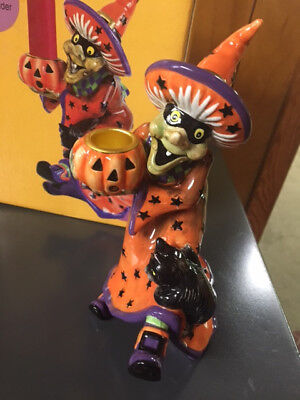 "Fitz & Floyd Halloween Witch Hazel Short Candle Holder W/ Box Figurine  8"" EC"