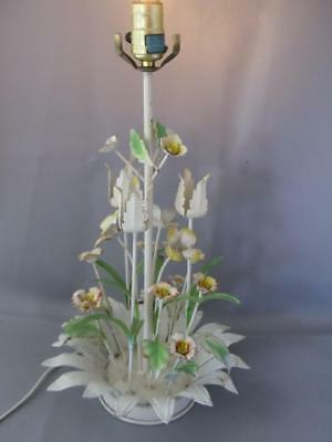 ANTIQUE SHABBY VTG CHIC ITALIAN METAL TOLE BASKET of FLOWERS TABLE LAMP