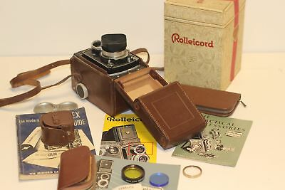 Rolleicord Va TLR Camera with Xenar f/3.5 75mm Lens, Case, and Accessories