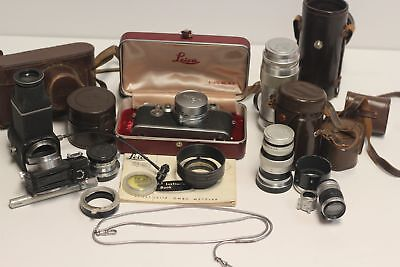 Leica IIIf with 35mm f3.5 50mm f2 100mm f3.5 & 135mm f4.5 Lenses, Cases & More