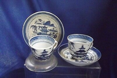 2  Antique-19thc-Chinese-Canton-Porcelain-Blue & White-Demitasse- Cup & Saucer