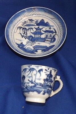 Antique Chinese-Canton-Porcelain-Blue & White-Demitasse C & S# 3 !0% OFF SALE
