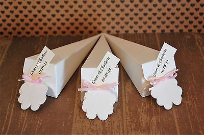 40 biodegradable throwing confetti cones personalised tags & ribbon rose wedding