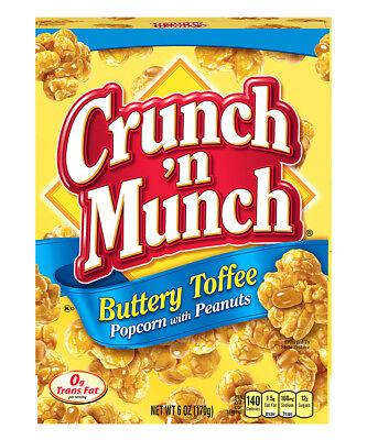 New Sealed Crunch 'n Munch Buttery Toffee Popcorn With Peanuts 6 Oz