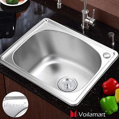 Voilamart Stainless Steel Kitchen Sink Catering Single Square Bowl 500x416mm