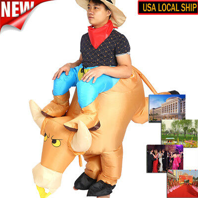 ADULT INFLATABLE Costume Suit Funny Rider Dress For Bull Halloween Xmas Party US