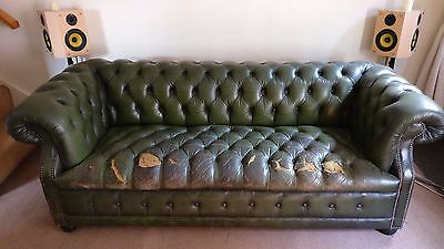 Original Antique Green Leather Chesterfield (No Reserve Price).