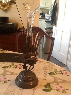 Exquisite Victorian Epergne with Flamingo and Foliage