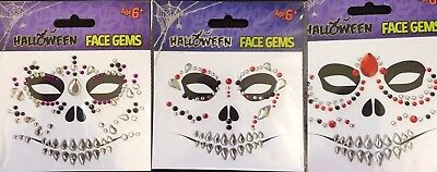 Halloween Sugar Skull Face Gems Jewels Diamanté Stones Crystal Body Art Festival