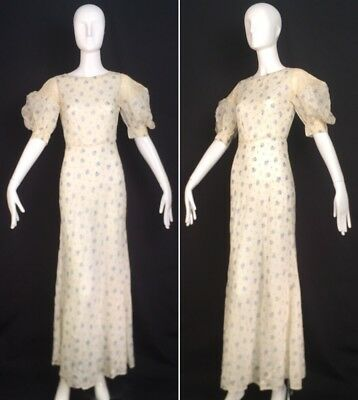 Vintage 30s Sheer Floral Long Dress Jazz Age Garden Party