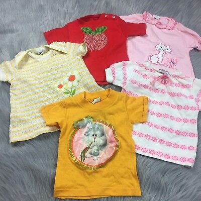 Vintage Lot 5 Baby Girls Novelty Healthtex Shirts Tops 70s 6-12m