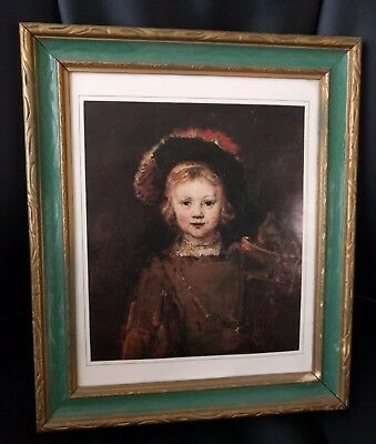 Vintage carved painted wood picture frame