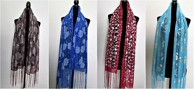 WHOLESALE lot 12 pc paisley silver/gold lightweight scarves, shawl, wrap, hijab