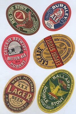 1940's 6 Aust. Beer Labels Cascade/red Top/west Mitcham/burnley/ballarat Q68