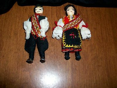 Cultural Couple 3.5 inch Wire & Fabric Handcrafted Dolls Vtg 80's