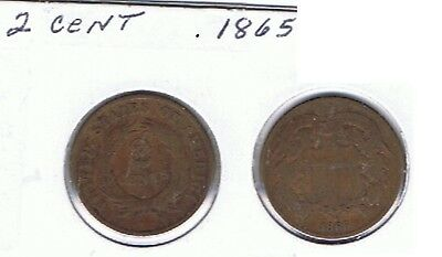 2 Cent Piece. 1865. Circulated. See Scan.