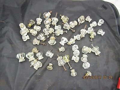 50 Antique / Vintage Glass Knobs Brass Assorted Lot of Drawer Pulls 6 & 8 Sided