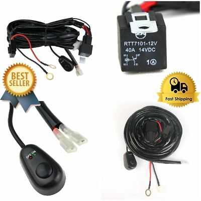 LED Light Bar 40A 12v Wiring Harness With Wireless Remote Control 2 lead 10ft