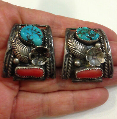 Native American Sterling Silver Turquoise Coral Mens Watch Tips J Toadlena VTG