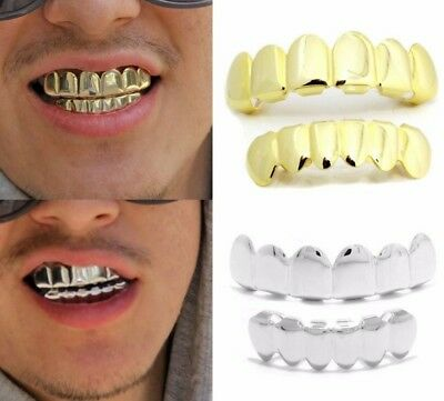4 Color Hip Hop Teeth Grillz Plated Custom 8 Top Bottom Mouth Set Grills