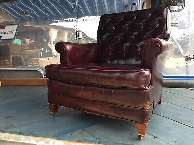 Distressed Vintage Burgundy Leather Button Tufted Club Chair