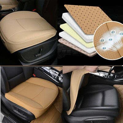 1x Universal Beige PU Leather Deluxe Car Front Chair Cover SUV Seat Cushion Pad