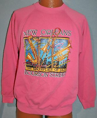 Vintage 80s NEW ORLEANS Birthplace of Jazz Raglan 50/50 Pink SWEATSHIRT M Vtg