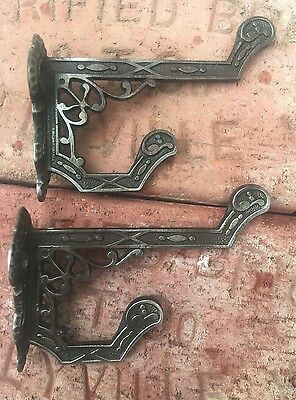Vtg Lot Of 2 Antique Cast Iron Eastlake Victorian Aesthetic Coat Hat Hooks NICE!