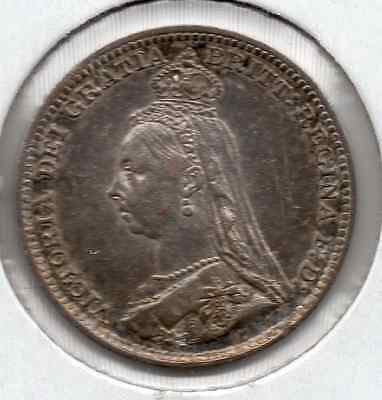 Original Toning Nice Condition 1891 Great Britain Silver 3 Pence
