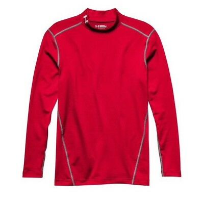 Under Armour ColdGear Armour Compression Mock Neck Red Long Sleeve Shirt Men's L
