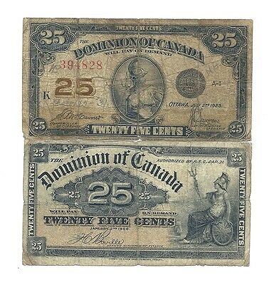 Lot 1900 and 1923 DOMINION of CANADA TWENTY FIVE CENTS BANK NOTES (Shinplasters)