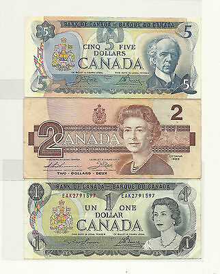 Lot of 3 x CANADA BANK NOTES (79 Five, 86 Two and 73 One)