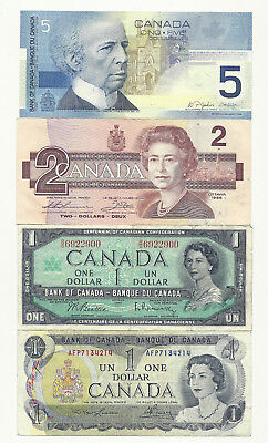 Lot of 4 x CANADA BANK NOTES (Five,Two and 2 x One's)
