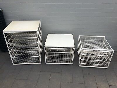 Wire racking and storage basket drawers x 3