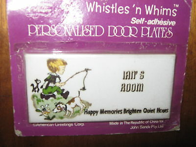 VintageWhistles' n Whims Porcelain Personalised Door Plate IAN's ROOM