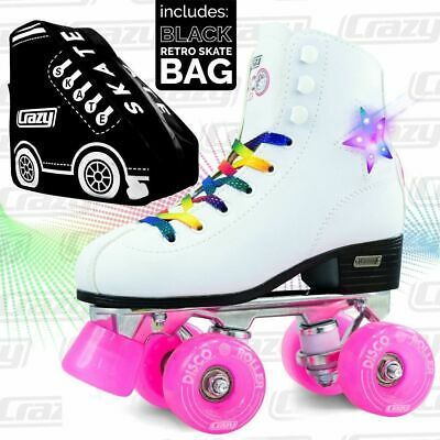 Crazy DISCO Roller LED Flashing Quad Roller Skates with BLACK Retro Skate Bag !!
