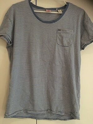 Scotch & Soda  T-shirt Size L- Blue/ White Stripped