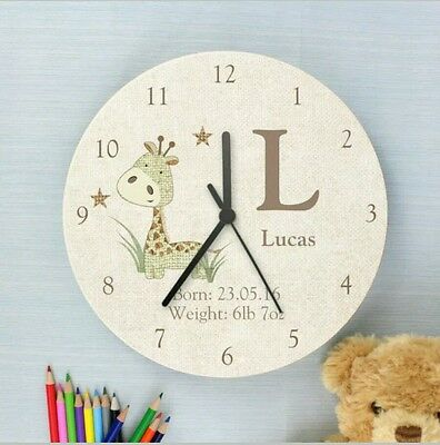 Childrens Personalised Giraffe Wooden Bedroom Clock Add Name and Message