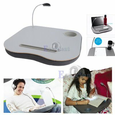 Portable Cushioned Laptop Lap Desk Table with LED Lamp Light Cup Holder Stand