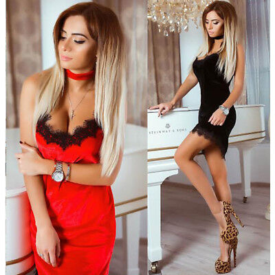 UK Sexy-Women-Bandage-Bodycon-Lace-Evening-Party-Cocktail-Short-Mini-Dress-Club