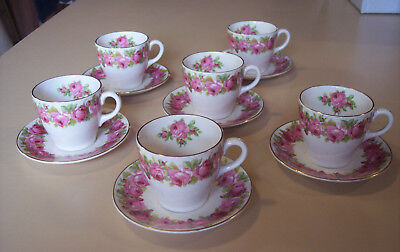 Royal Doulton Raby Rose Demitasse Cups and Saucers (6)