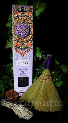 COMPLETE SMUDGING CLEANSING PACK KIT~Lavender Fragrance Incense Broom White Sage