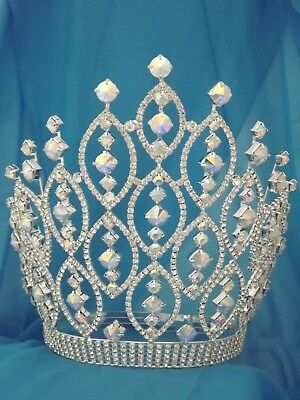 """Large Rhinestone Pageant Crown -10"""" AB  tiara beauty pageant drag queen"""
