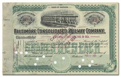 Baltimore Consolidated Railway Company Stock Certificate