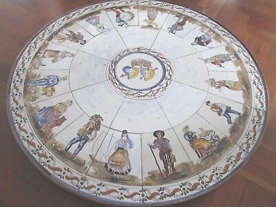 Old Decorative Tiled Marriage Table Top