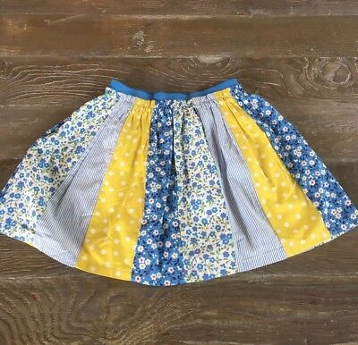 Girls Mini Boden Blue & Yellow Patchwork Floral Themed Skirt Size 7 -8 S2