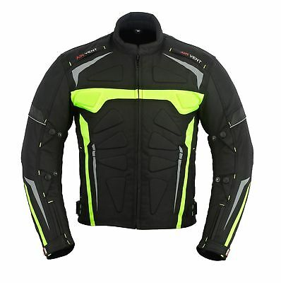 Mens Motorcycle Motorbike Jacket Waterproof Textile Black CE Armoured Coat Sport