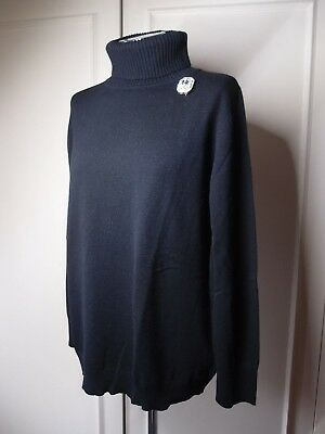 ESCADA WOOL/CASHMERE BLACK TURTLENECK/JUMPER SWAROVSKI ELEMENT  Size XL/UK 14-16