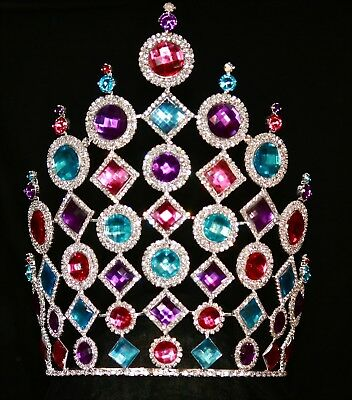 """Large Rhinestone Pageant Crown 10.5"""" MULTICOLOR tiara beauty pageant drag queen"""